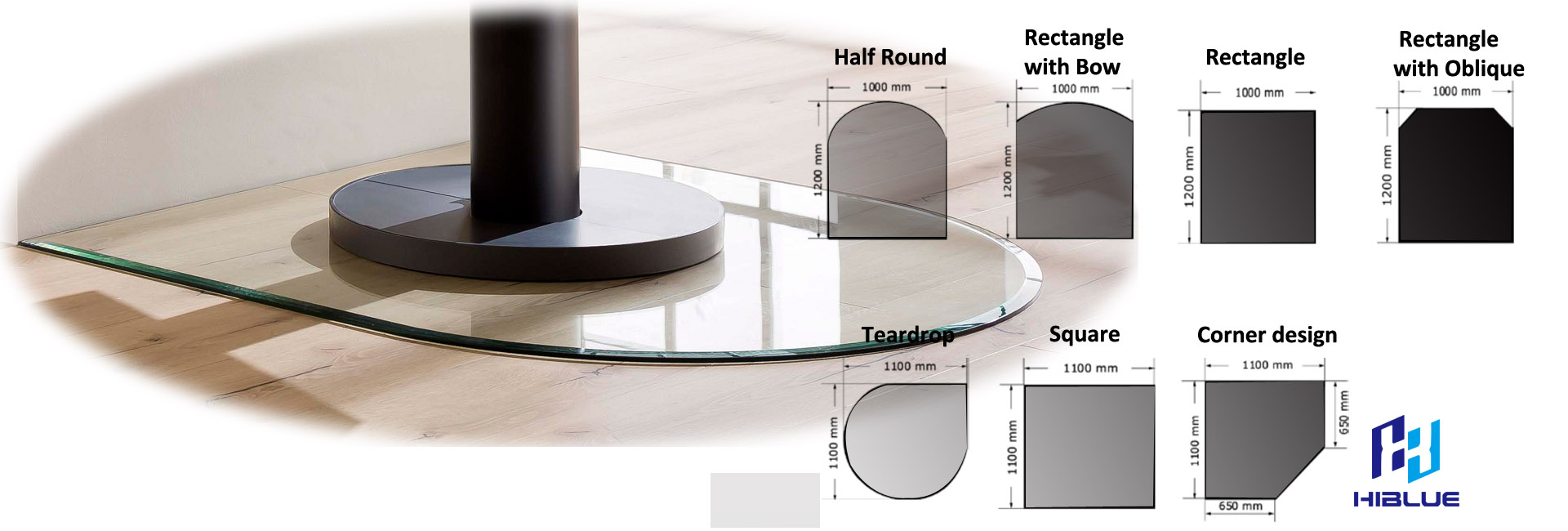 Glass floor plate with customized shape 