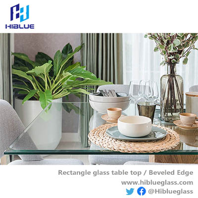 Rectangle tempered glass table beveled top