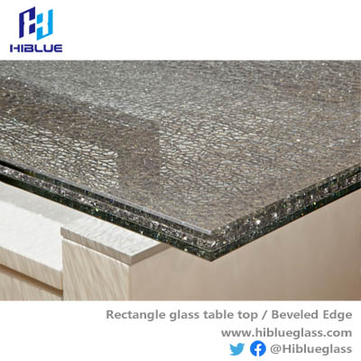 Rectangle cracked laminated glass table top