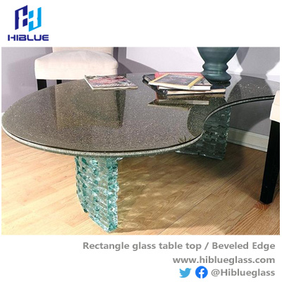 Cracked glass table top bronze or grey tempered glass