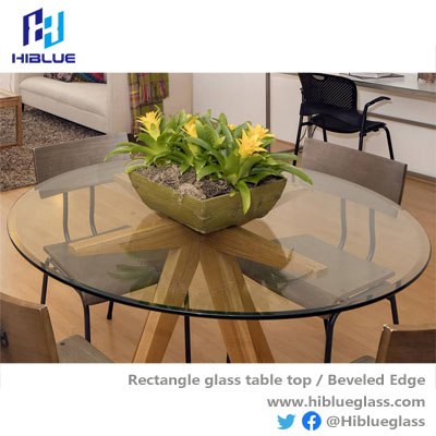 Round Beveled Glass table top