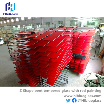 Design Bent Glass with red color painting