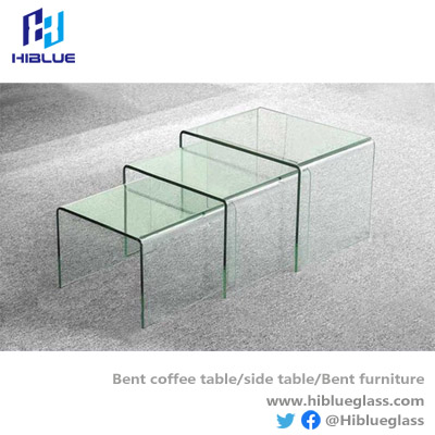 High quality Bent Glass Side table living room console table