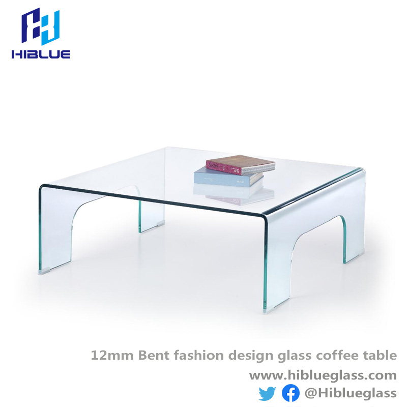 12mm Bent fashion design glass coffee table