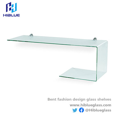 L shape bent glass shelves