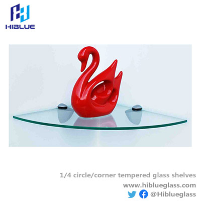 Quarter circle shelves tempered glass