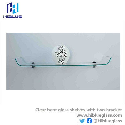Clear Bent glass with two bracket -frosted