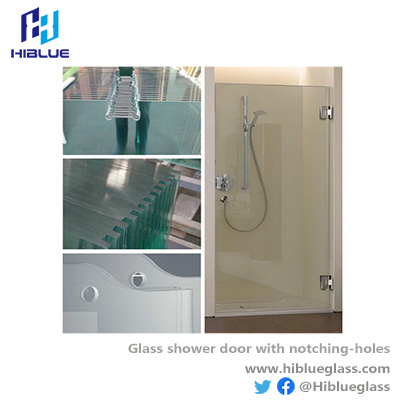 Glass shower door with hing cutting notching