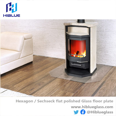 Hexagon-Sechseck Glass Hearth Glass Floor Plate